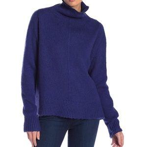 Free Press Turtleneck High/Low Sweater in Blue XXL